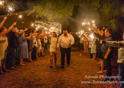 Cielo Blu Barn Fellsmere Florida Wedding Sparkler Exit