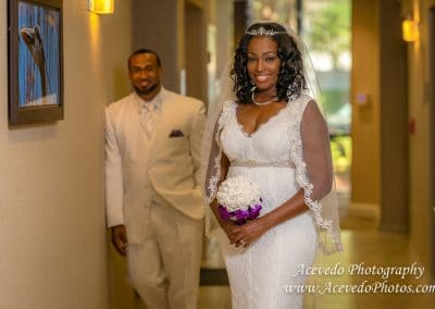 Cocoa Beach Florida Marriott Wedding Bride & Groom Portrait